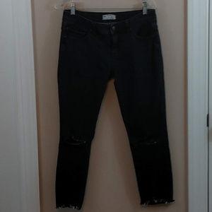 Free People Petite Skinny Midrise Shredded Jeans